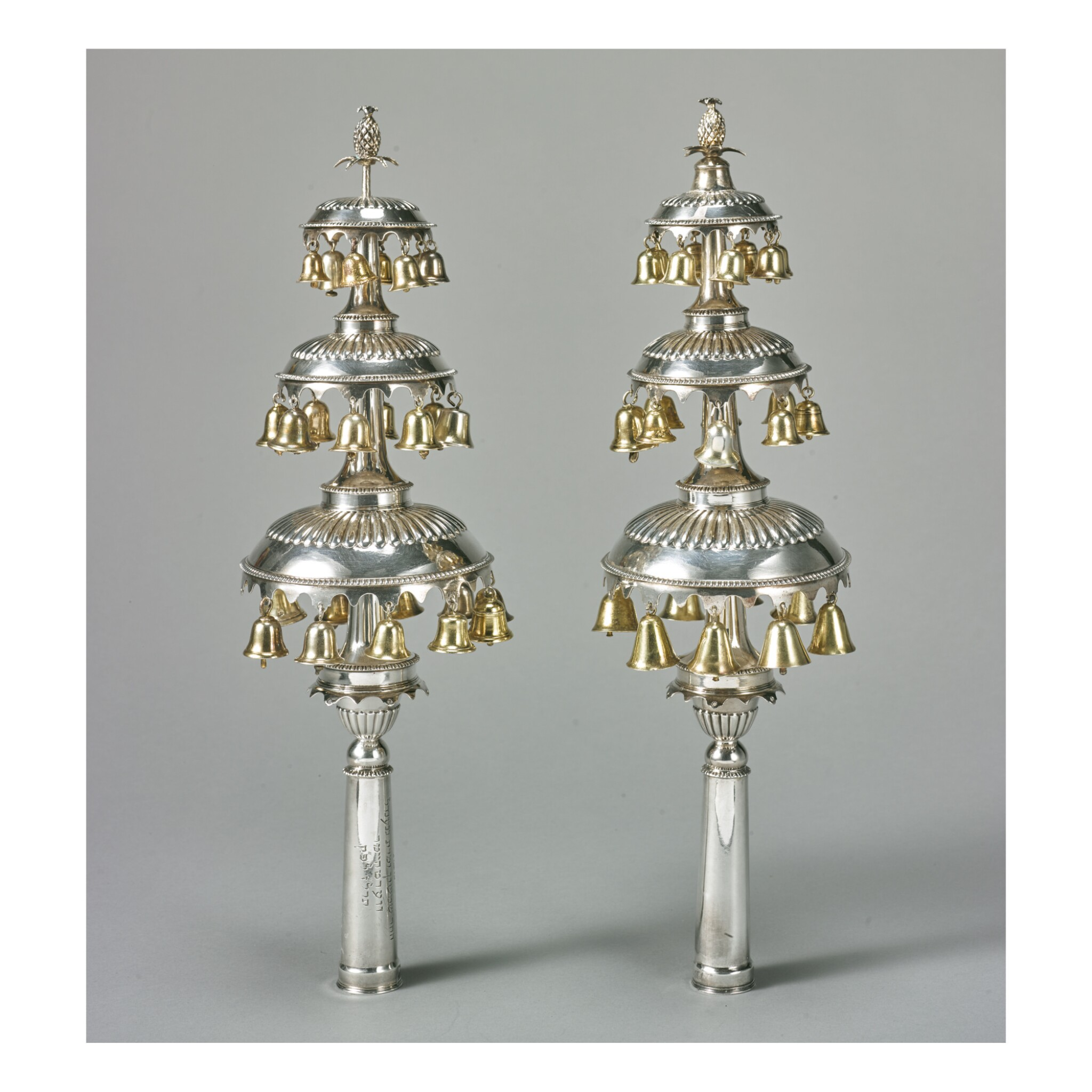 View full screen - View 1 of Lot 7. A PAIR OF ENGLISH SILVER TORAH FINIALS, 19TH CENTURY.