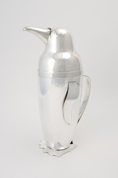 View 3. Thumbnail of Lot 6.  AN AMERICAN SILVER-PLATED PENGUIN-FORM COCKTAIL SHAKER .