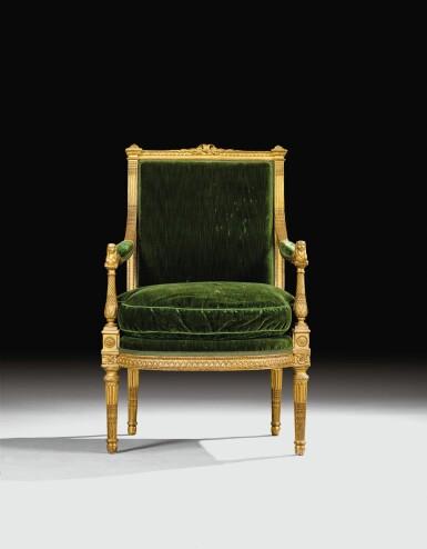 View 4. Thumbnail of Lot 18. A CARVED GILTWOOD ARMCHAIR WITH SPHINXES, LOUIS XVI, BY MATHIEU DE BAUVE, CIRCA 1785 | FAUTEUIL AUX SPHINGES EN BOIS SCULPTÉ ET DORÉ D'ÉPOQUE LOUIS XVI, VERS 1785, PAR MATHIEU DE BAUVE.