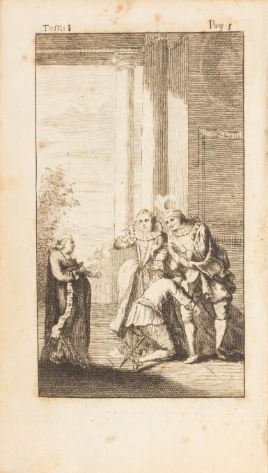 View 3. Thumbnail of Lot 78. Gil Blas. 1747. [Et:] Recueil des pièces... 1739. ensemble de 6 volumes aux armes de la comtesse de Provence..