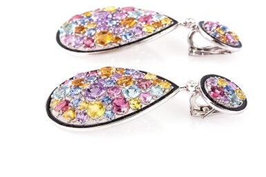 View 2. Thumbnail of Lot 10. Gem set and diamond pendent earrings, Michele della Valle.