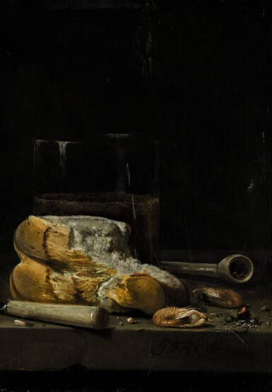 JAN FRIS | STILL LIFE OF BREAD, PRAWNS, A PIPE AND A GLASS OF BEER ARRANGED ON A TABLE