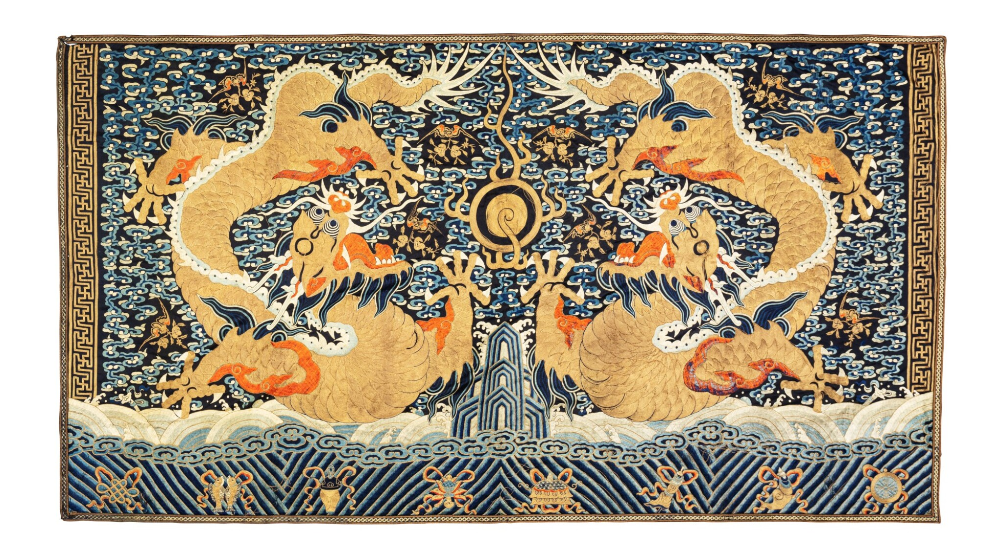 View 1 of Lot 153. Grande tenture rectangulaire en soie brodée Dynastie Qing, XIXE siècle | 清十九世紀 藍緞繡雙龍趕珠紋掛幅 | A very large blue-ground gold-thread 'dragon' imperial wall hanging, Qing Dynasty, 19th century.