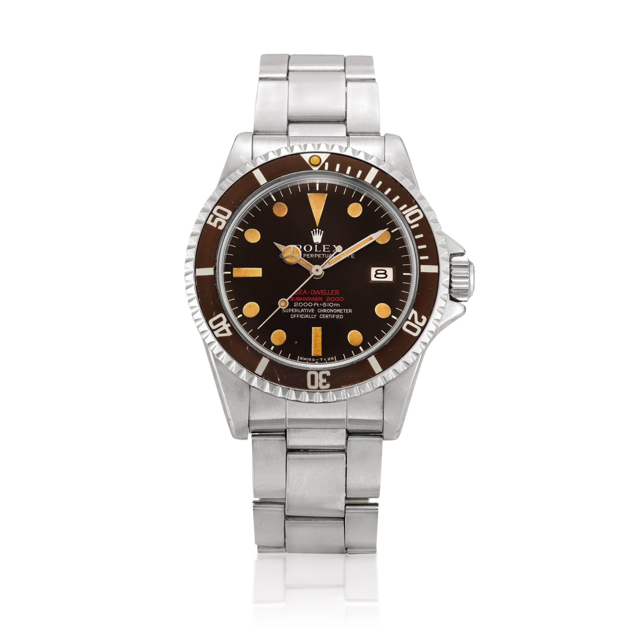 View full screen - View 1 of Lot 2270. Rolex | 'Double Red' Sea-Dweller, Reference 1665, A stainless steel wristwatch with tropical dial, date and bracelet, Circa 1972 | 勞力士 | 'Double Red' Sea-Dweller 型號1665  精鋼鏈帶腕錶,備日期顯示及棕式錶盤,約1972年製.