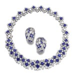 Pair of sapphire and diamond ear clips, Adler, and a necklace | Adler 藍寶石配鑽石耳環一對,項鏈一條