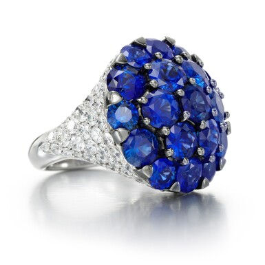 View 1. Thumbnail of Lot 65. GRAFF   SAPPHIRE AND DIAMOND RING.