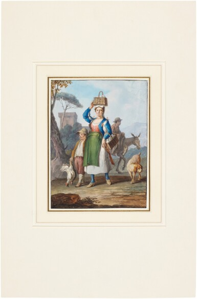 View 3. Thumbnail of Lot 83. A pair of Neapolitan genre scenes: A woman carrying baskets of eggs and a Waterseller.