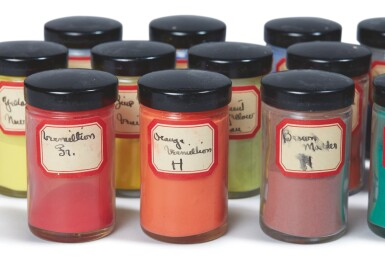 View 2. Thumbnail of Lot 73. GEORGIA O'KEEFFE'S PIGMENTS | A COLLECTION OF 18 JARS LABELLED AND USED BY GEORGIA O'KEEFFE.