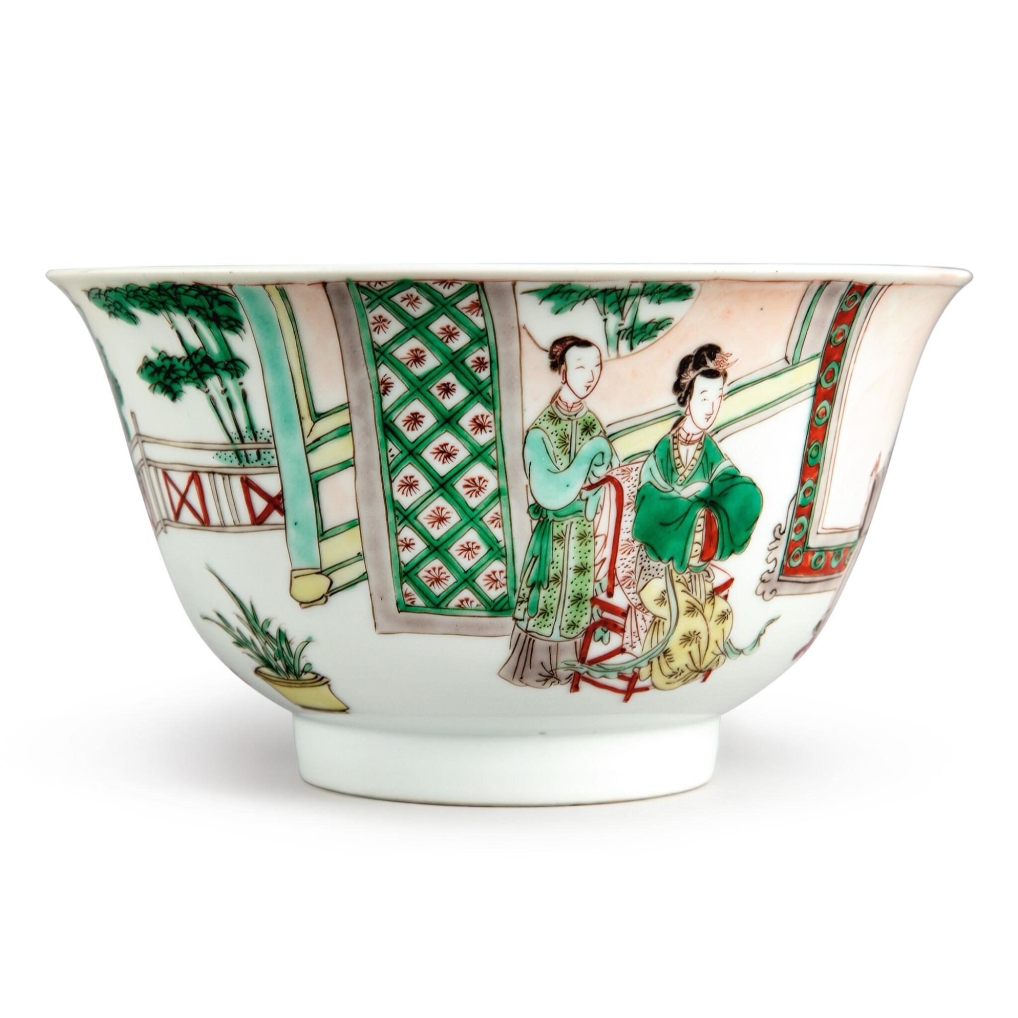 View full screen - View 1 of Lot 144. A famille-verte 'figural' bowl, Qing dynasty, Kangxi period   清康熙 五彩人物故事圖盌  《大明成化年製》仿款.