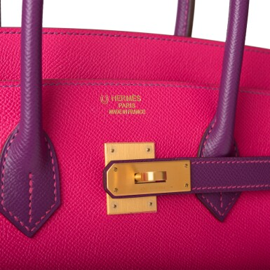 View 7. Thumbnail of Lot 26. HERMÈS   HORSESHOE STAMP (HSS) BICOLOR ROSE TYRIEN AND ANEMONE BIRKIN 35CM OF EPSOM LEATHER WITH GOLD HARDWARE.