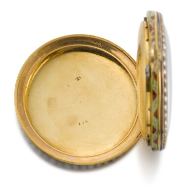View 11. Thumbnail of Lot 292. BOVET FLEURIER | A PAIR OF GOLD, ENAMEL AND PEARL-SET WATCHES MADE FOR THE CHINESE MARKET, CIRCA 1825, NO. 176.
