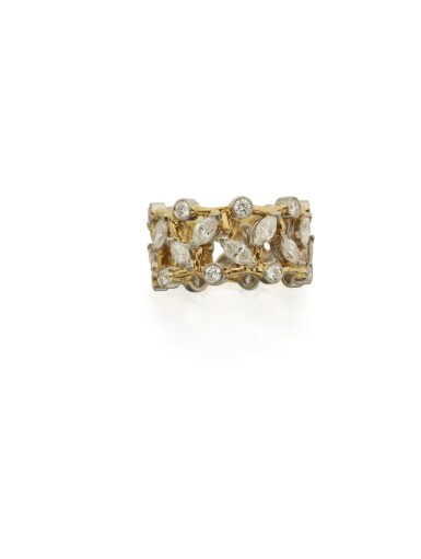 GOLD AND DIAMOND 'VIGNE' BAND RING, SCHLUMBERGER FOR TIFFANY & CO.