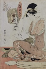 KITAGAWA UTAMARO I (EARLY 1750S–1806), COURTESAN SHIRATSUYU OF THE WAKANAYA AND OTOKOYAMA SAKE BY MOMENYA (WAKANAYA UCHI SHIRATSUYU, MOMENYA NO OTOKOYAMA) | EDO PERIOD, LATE 18TH CENTURY