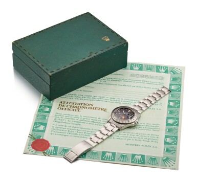 View 5. Thumbnail of Lot 6. ROLEX |  EXPLORER II, REFERENCE 1655, A STAINLESS STEEL WRISTWATCH WITH 24 HOUR INDICATION, DATE AND BRACELET, CIRCA 1984.