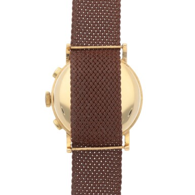 View 4. Thumbnail of Lot 431. YELLOW GOLD CHRONOGRAPH WRISTWATCH WITH TROPICAL DIAL CIRCA 1950.