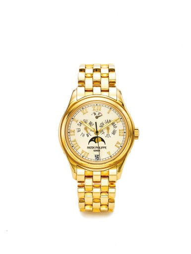 PATEK PHILIPPE | REF 5036/1J, A YELLOW GOLD AUTOMATIC ANNUAL CALENDAR WRISTWATCH WITH MOON PHASES AND POWER RESERVE INDICATION MADE IN 2001