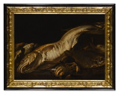 View 2. Thumbnail of Lot 10. ATTRIBUTED TO GIUSEPPE RECCO   STILL LIFE WITH A FORKHEAD HAKE, SEA BASS, CRAB AND OTHER FISH.