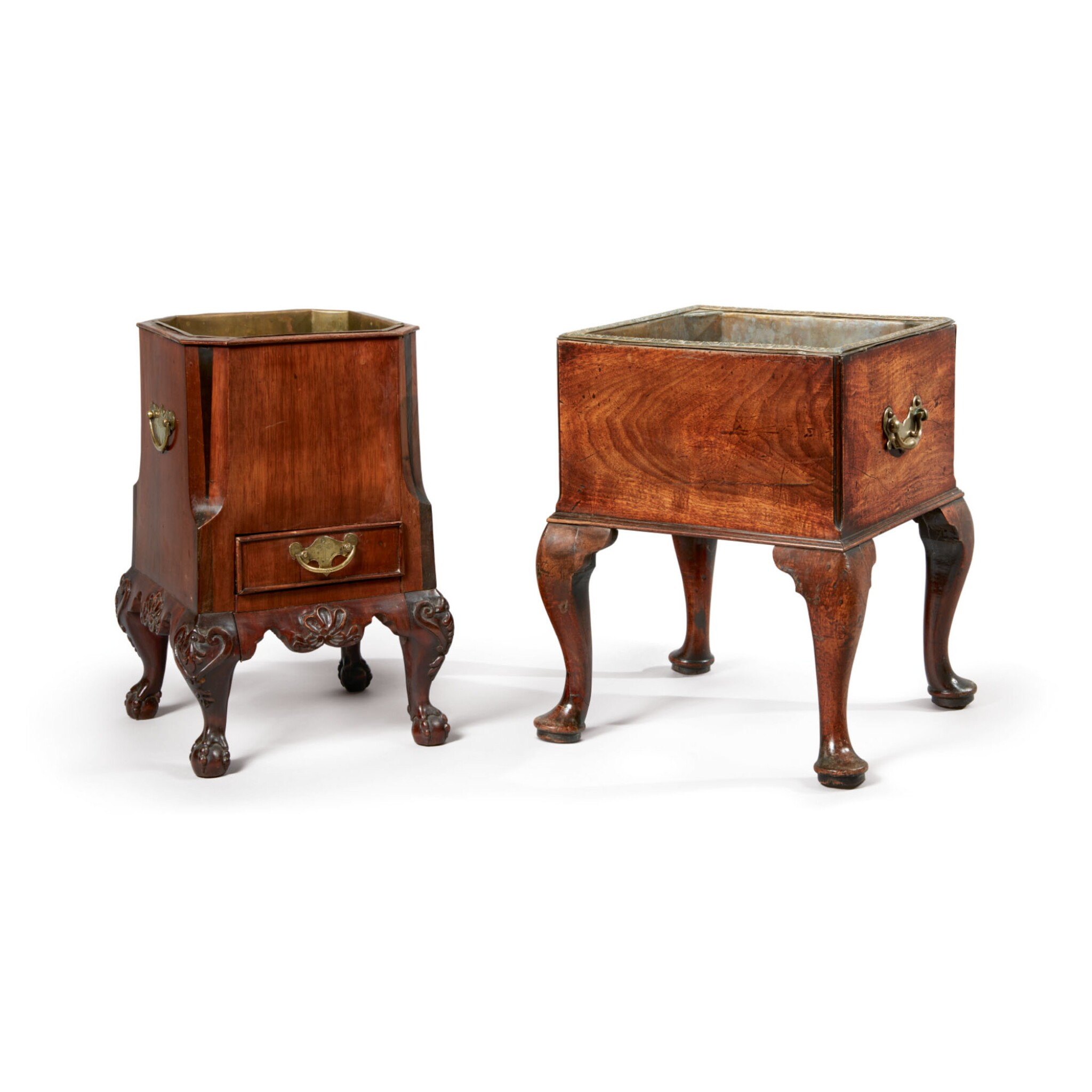 View 1 of Lot 520. A GEORGE II MAHOGANY JARDINIÈRE, 18TH CENTURY, TOGETHER WITH AN ANGLO-DUTCH MAHOGANY JARDINIÈRE, 19TH CENTURY.
