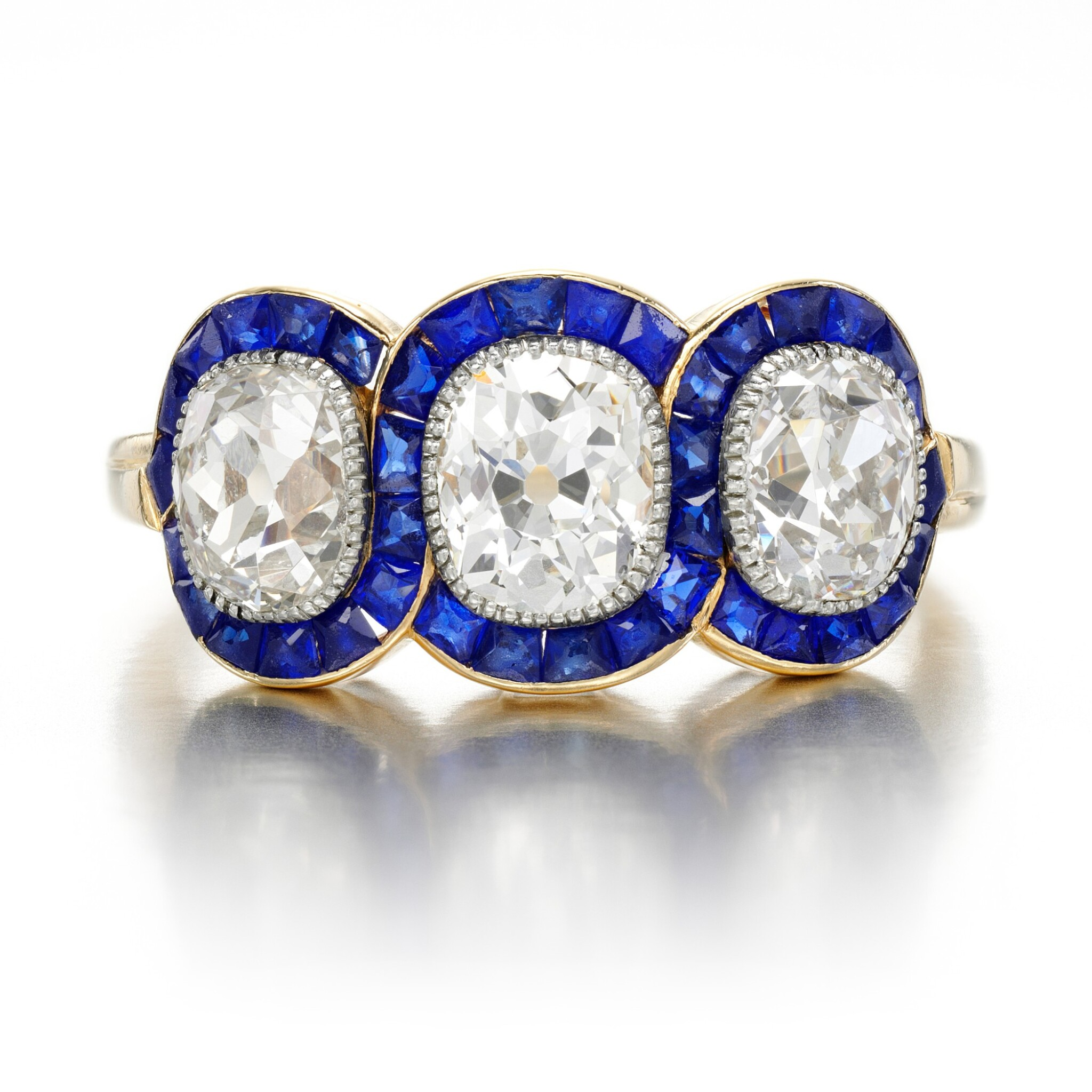 View full screen - View 1 of Lot 43. Sapphire and diamond ring, circa 1915.