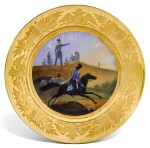 JUNIOR OFFICERS OF THE GUARD ATAMANSKI COSSACK REGIMENT: A PORCELAIN MILITARY PLATE, IMPERIAL PORCELAIN FACTORY, ST PETERSBURG, PERIOD OF NICHOLAS I, 1834