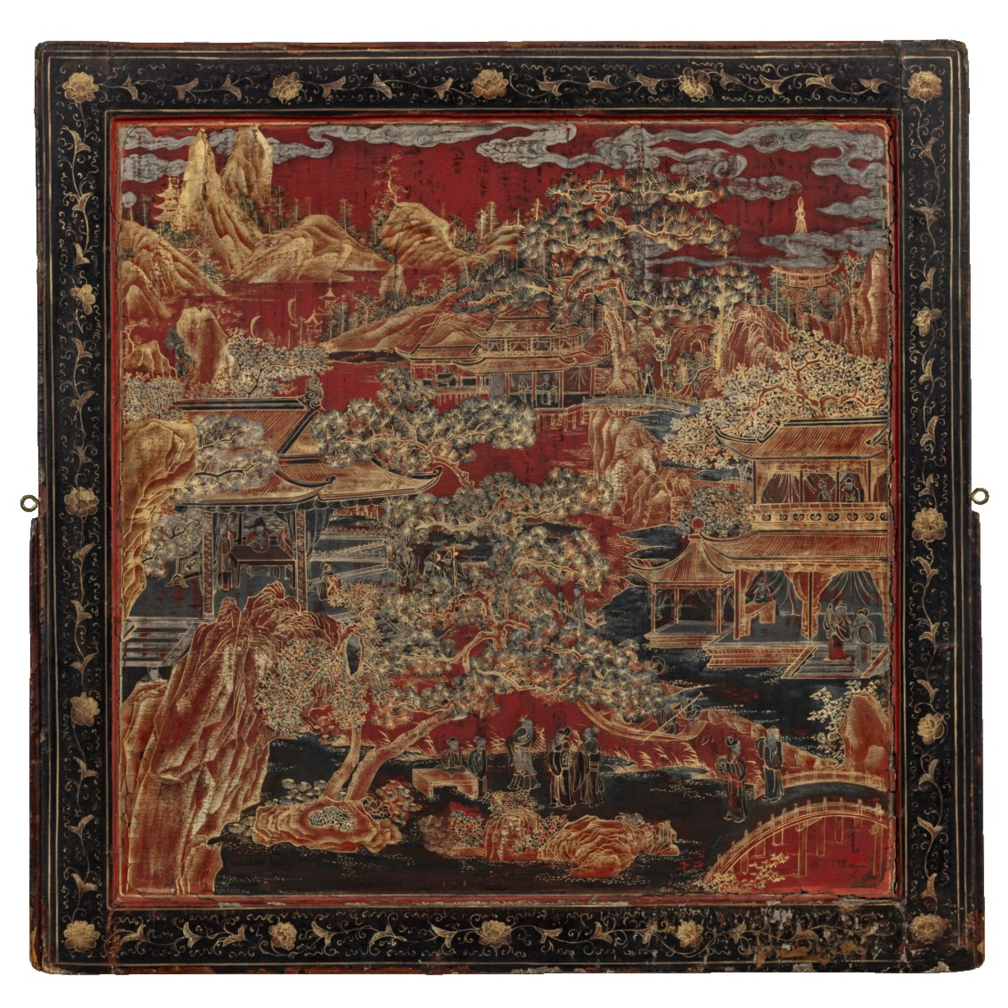 View 1 of Lot 91. Grand écran de lettré en laque polychrome et doré incrusté de nacre Dynastie Qing, époque Kangxi | 清康熙 描金彩繪嵌螺鈿山水樓閣圖雙面插屏 | A large lacquer-gilt and mother-of-pearl inlaid figural screen panel, Qing Dynasty, Kangxi period.