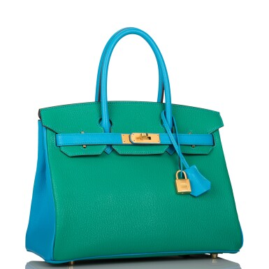 View 2. Thumbnail of Lot 92. HERMÈS    HORSESHOE STAMP (HSS) BICOLOR MENTHE AND BLEU AZTEC BIRKIN 30CM OF CHEVRE LEATHER WITH BRUSHED GOLD HARDWARE.