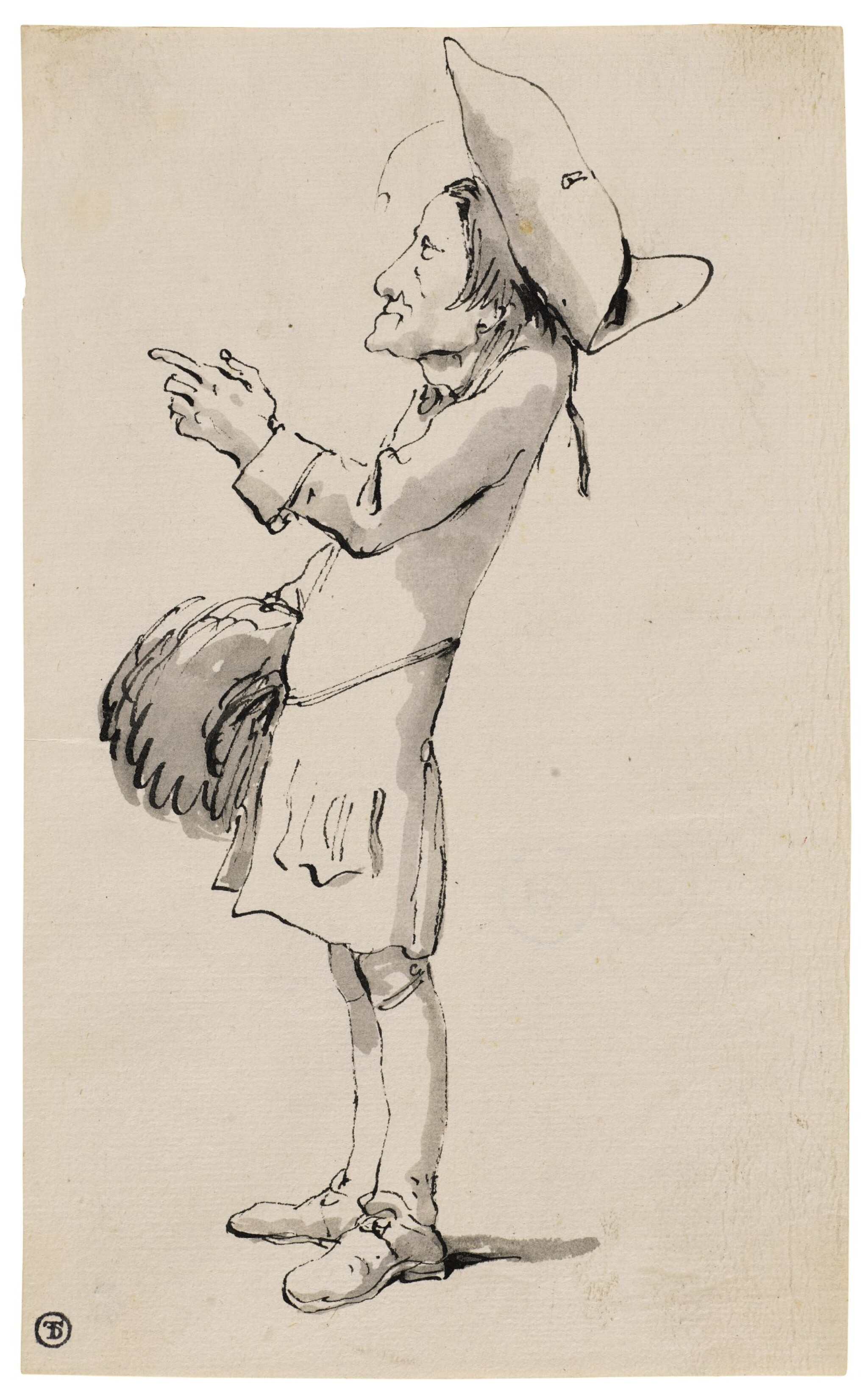 Caricature of a man with a muff