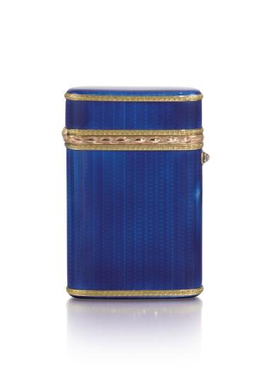 View 2. Thumbnail of Lot 290. A Fabergé Imperial two-colour gold-mounted guilloché enamel cigarette case, workmaster Michael Perchin, St Petersburg, 1899-1903.
