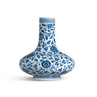 View 2. Thumbnail of Lot 190. A VERY RARE BLUE AND WHITE 'FLORAL' VASE YONGZHENG MARK AND PERIOD.