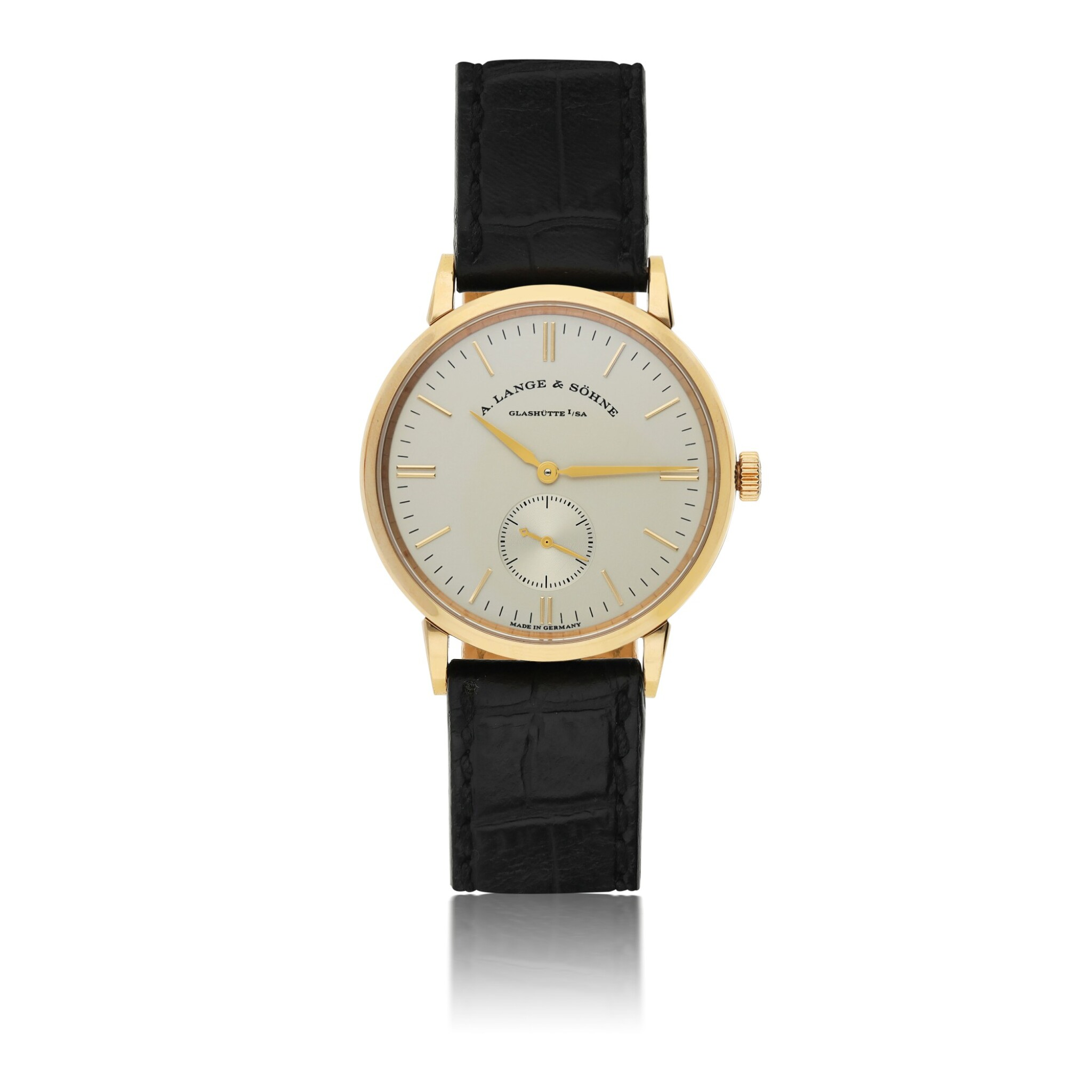 View full screen - View 1 of Lot 9.  A. LANGE & SÖHNE   REF 219.032 SAXONIA, A PINK GOLD CENTER SECONDS WRISTWATCH CIRCA 2000.