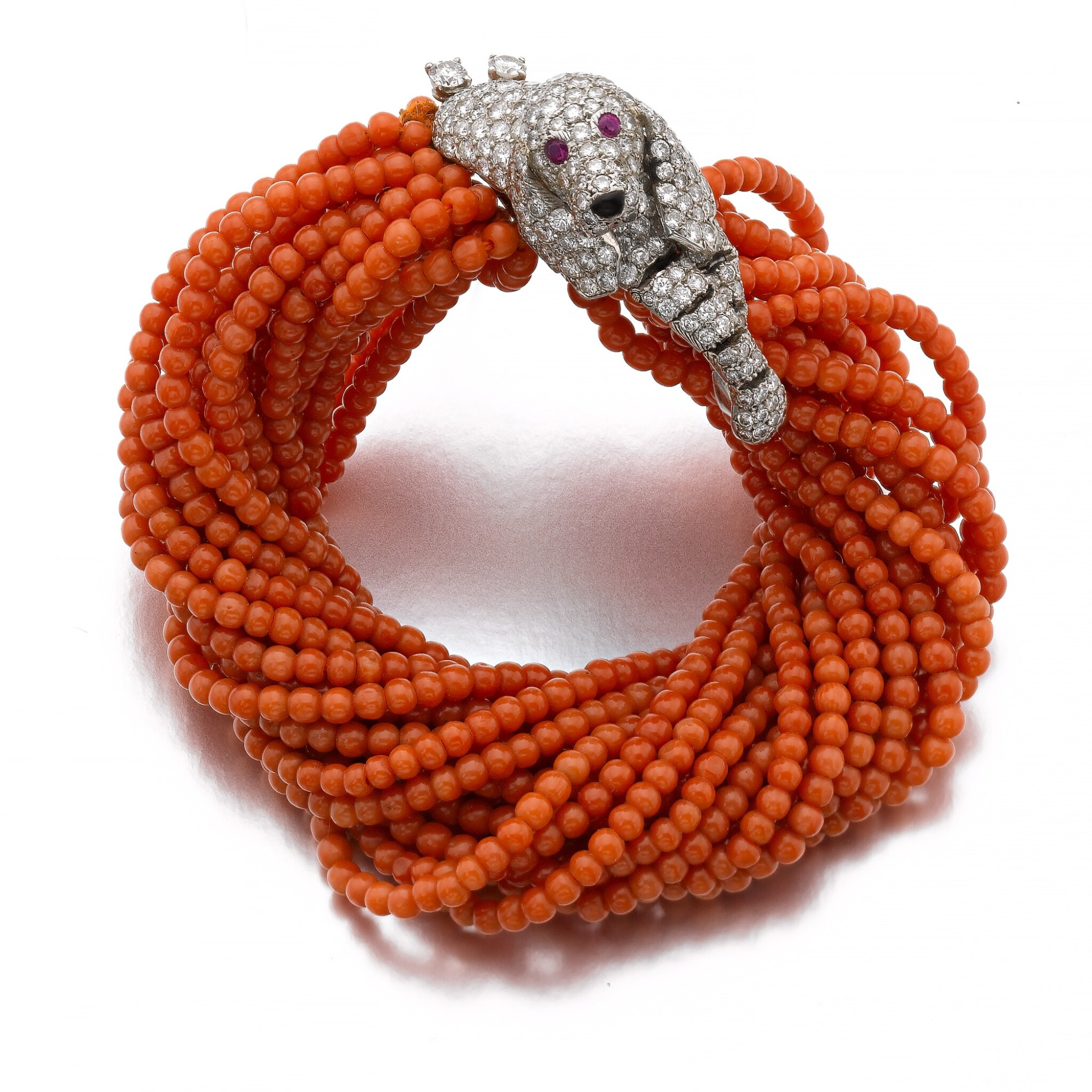 View full screen - View 1 of Lot 58. CARTIER | CORAL AND DIAMOND BRACELET, 1960S.