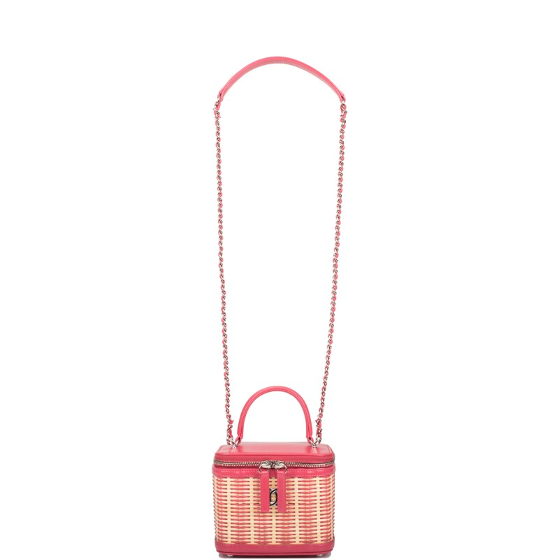 Pink Leather and Rattan Small Vanity Case Silver Tone Hardware