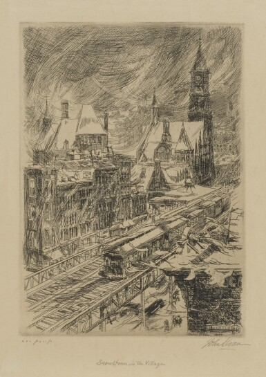 JOHN SLOAN | SNOWSTORM IN THE VILLAGE (MORSE 216)