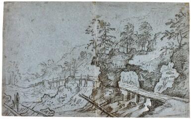 PRAGUE SCHOOL, CIRCA 1600 | RECTO: RUGGED RIVER LANDSCAPE WITH A BRIDGE; VERSO: VIEW OF A VILLAGE