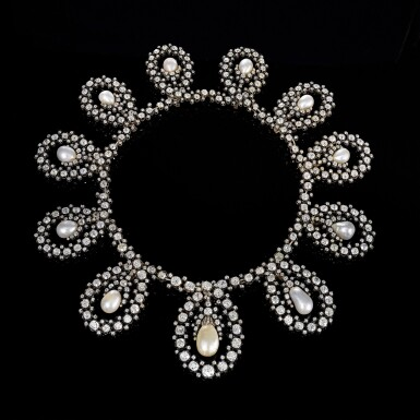 View 7. Thumbnail of Lot 180. Musy | Magnificent and Historic Natural pearl and diamond tiara/necklace, second half of the 19th century | Musy | 天然珍珠配鑽石王冠/項鏈,十九世紀下半葉,具歷史價值.
