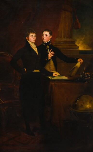 View 1. Thumbnail of Lot 171. Portrait of the Rt. Hon. Sir Edward Knatchbull, later 9th Bt. (1781-1849), with his brother Norton Joseph Knatchbull (d. 1801), both standing by a table, a globe to the right.