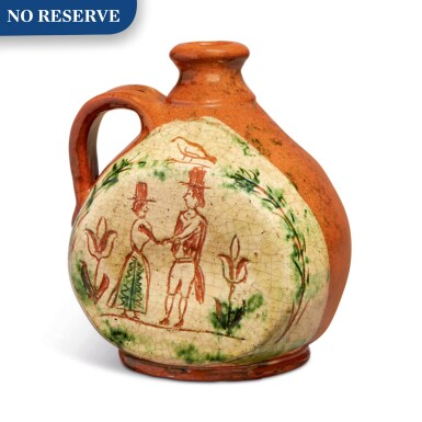 View 1. Thumbnail of Lot 303. Rare Glazed Sgraffito and Slip-Decorated Redware Jug, Pennsylvania, dated 1797.