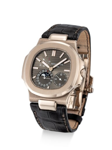 View 2. Thumbnail of Lot 8008. Patek Philippe | Nautilus, Reference 5712, A white gold wristwatch with date, moon phases and power reserve indication, Circa 2016 | 百達翡麗 | Nautilus 型號5712   白金腕錶,備日期、月相及動力儲備顯示,約2016年製.