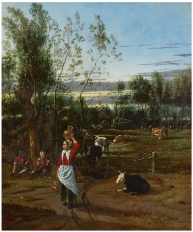 View 1. Thumbnail of Lot 126. JAN SIBERECHTS  |  A MILKMAID AND CHILDREN IN A FIELD, CATTLE GRAZING BEYOND .