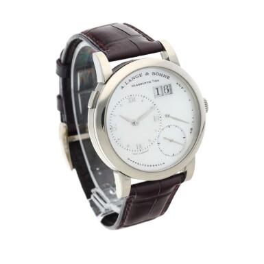 View 3. Thumbnail of Lot 290. Reference 110.029 Lange 1  A white gold wristwatch with date, power reserve indication and mother-of-pearl dial, Circa 2000 .