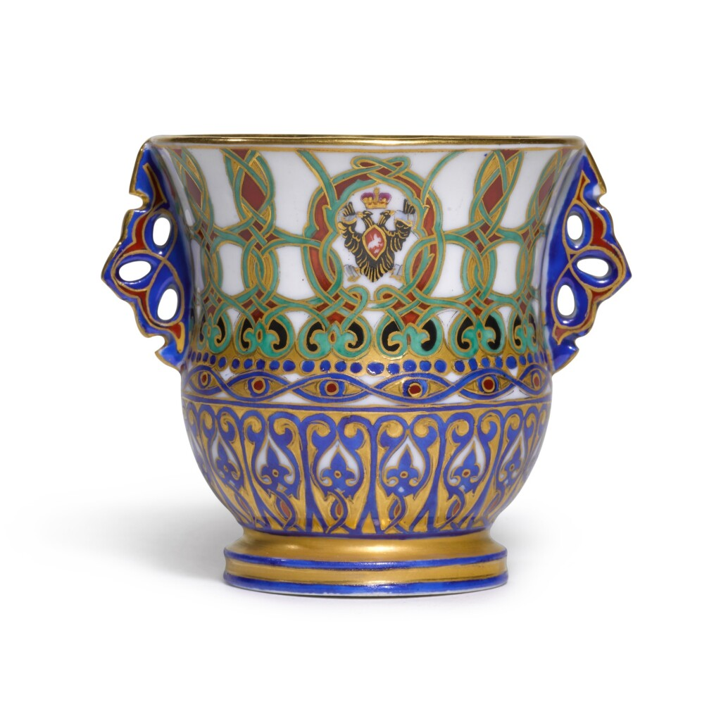 A PORCELAIN TWO-HANDED CUP FROM THE SERVICE OF GRAND DUKE KONSTANTIN NIKOLAEVICH, IMPERIAL PORCELAIN FACTORY, ST PETERSBURG, PERIOD OF NICHOLAS I (1844-1855), 1848-1852