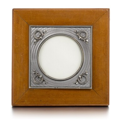 View 1. Thumbnail of Lot 27. A Fabergé silver-mounted and guilloché enamel palisander wood photograph frame, workmaster Anders (Antti) Nevalainen, St Petersburg, 1899-1903.