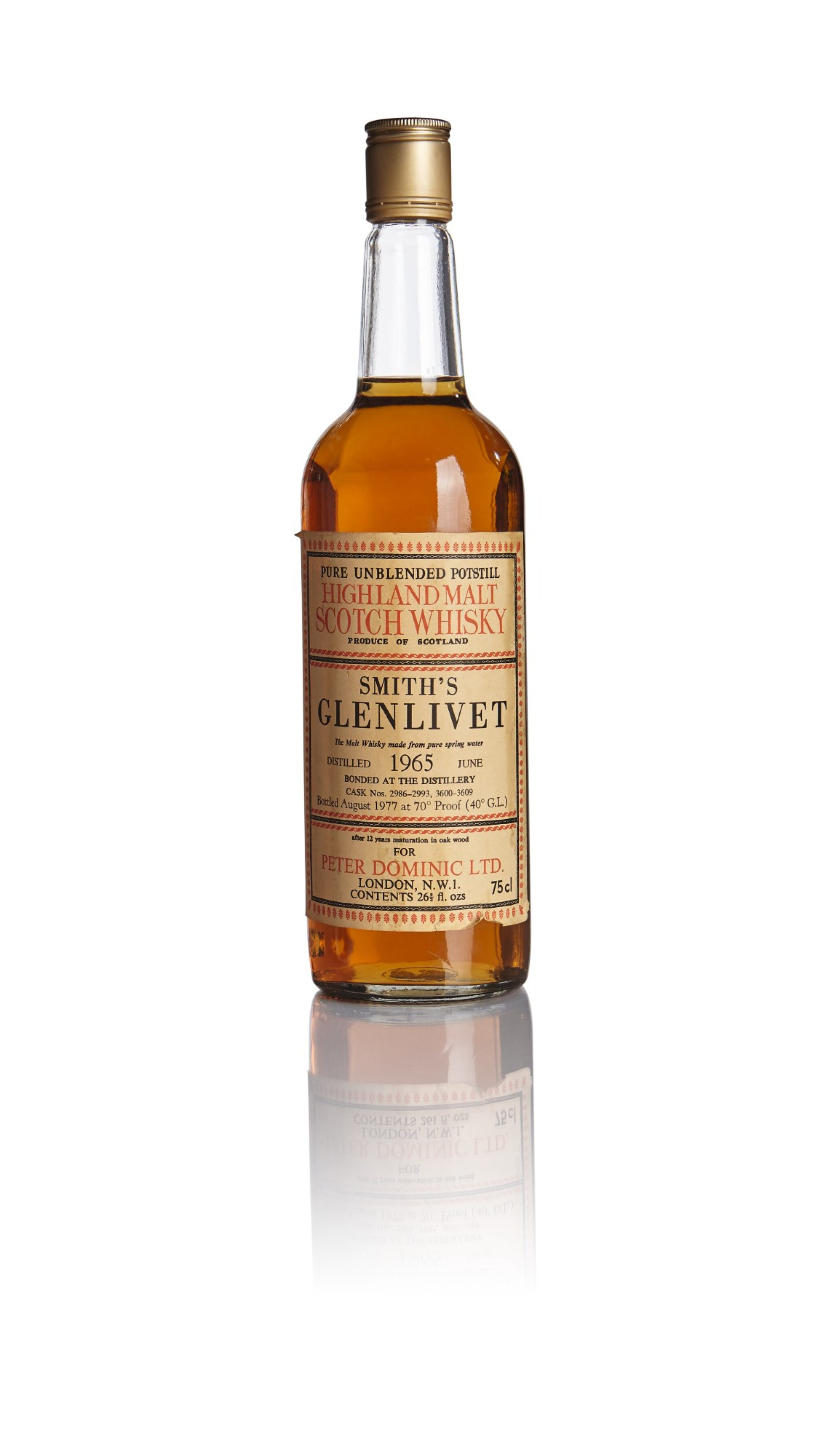 View 1 of Lot 199. SMITH'S GLENLIVET BOTTLED FOR  PETER DOMINIC 12 YEAR OLD 40.0 ABV 1965.