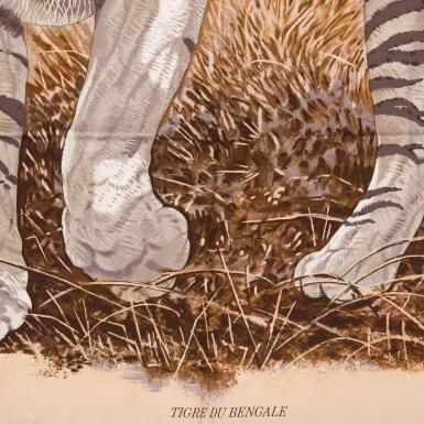 "View 3. Thumbnail of Lot 107. Hermès ""Tigre du Bengale"" Silk Twill Scarf 90cm."
