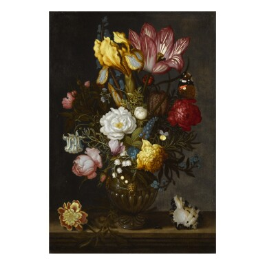 A still life of white and red roses, a tulip, anemones, a hyacinth, a pansy, lily-of-the-valley, and other flowers in an ornamented glass vase on a hard-stone ledge, with a shell, a bluebottle and a Red Admiral butterfly