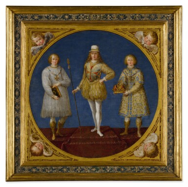 View 4. Thumbnail of Lot 665. A young prince, possibly Ferdinand Karl, Archduke of Austria and Tyrol, flanked by two attendants;  The Archangel Saint Michael, wearing a plumed helmet with the colors of Austria.