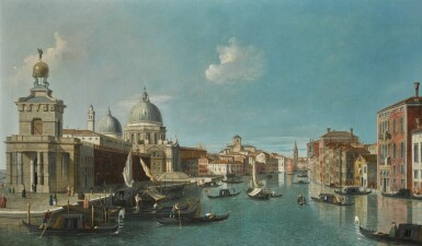 19TH CENTURY ENGLISH FOLLOWER OF GIOVANNI ANTONIO CANAL, CALLED CANALETTO | Venice, the entrance to the Grand Canal, looking west
