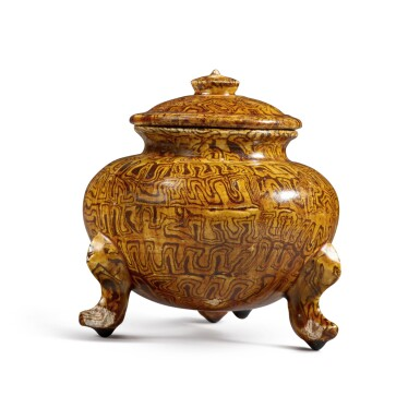 View 3. Thumbnail of Lot 175. A rare amber-glazed marbled pottery tripod jar and cover, Tang dynasty | 唐 琥珀釉絞胎三足蓋爐.