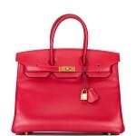 Hermès Rouge Vif Birkin 35cm of Tadelakt Leather with Gold Hardware