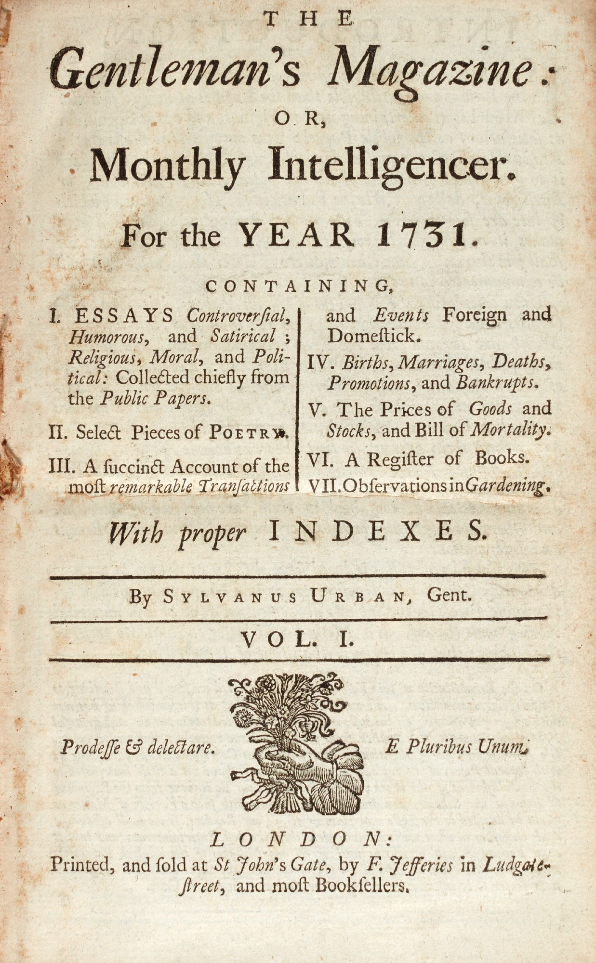 View full screen - View 1 of Lot 135. GENTLEMAN'S MAGAZINE | THE GENTLEMAN'S MAGAZINE, 1731-1830, 139 VOLUMES.